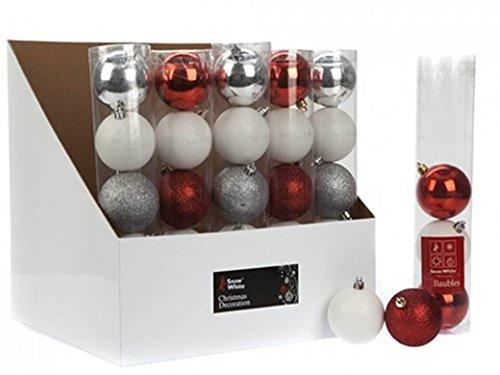 5 X 6cm assorties Boules argent / blanc / rouge de Noël Arbre de Noël Décorations