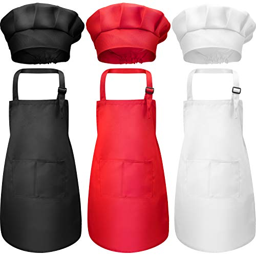 Chengu 6 Pieces Kids Chef Hat Apron Set, Boys Girls Aprons for Kids Adjustable Cotton Aprons Kitchen Bib Aprons with 2 Pockets for Kitchen Cooking Baking Wear (Small , Color 1)