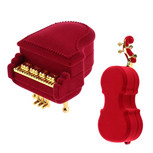 2 Pieces Velvet Jewelry Box Organizer Earring Ring Necklace Jewelry Storage Case Box,Gift Boxes for Rings Necklaces Pendants Jewellery Crafts Wholesale-Fashion Violin Piano Design