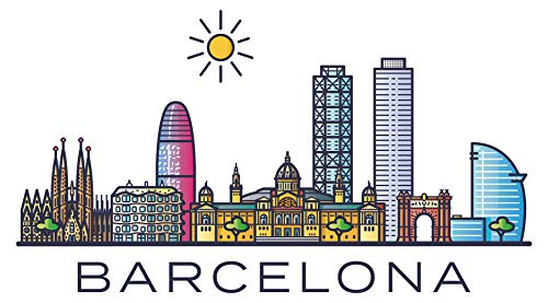 Pegatina de pared skyline Barcelona España ciudades motivo lugares turísticos pared pegatina...