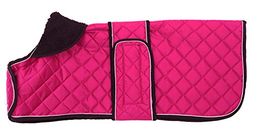 Geyecete Warm Thermal Quilted Dachshund Coat, Dog Winter Coat with Warm Fleece Lining, Outdoor Dog Apparel with Adjustable Bands for Medium, Large Dog-Pink-M