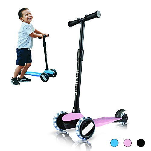 Kick Scooter for Kids 3 Wheels Scooters for Toddlers Girls Boys with Adjustable Height, Light Up Flashing Wheels, Lean-to-Steer, Sturdy Deck, Extra Wide, Quick-Release, for Ages 2-5 Years Old, Pink