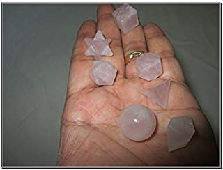 Jet Wow A++ Rose Quartz 7 Stones Sacred Geometry Sets Gemstone Platonic Solid Top Grade Quality Merkaba Star