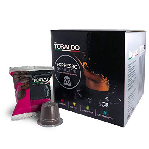 Caffe Toraldo, REAL ITALIAN Classic Espresso Coffee Capsules. Compatible with Original nespresso machine. (25 Pods) (Classica)