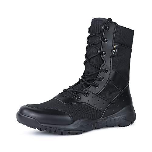 QUNLON Botas transpirables antideslizantes resistentes al desgaste tácticas militares para hombres Zapatos de trabajo ligeros de combate en la selva Black 44EU