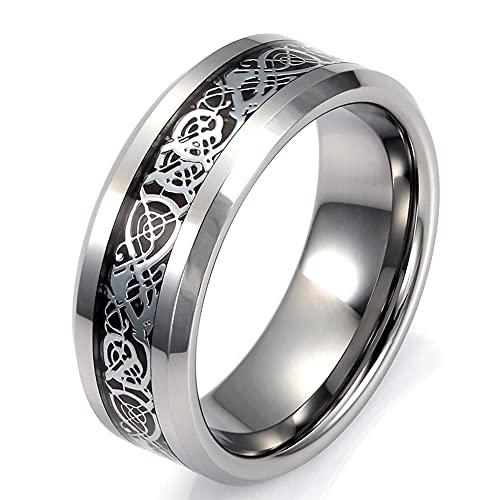 Kreekr Celtic Dragon Tungsten Carbide Wedding Band 8mm Silver/Gold/Blue Fluorite Ring Gift for Mens Women,Silver,11