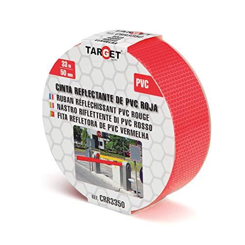 TARGET CRR3350 - Cinta Reflectante - Roja 33 Metros x 50 Milímetros - Adhesiva - Advertencia - Señalización - Marcaje - Alta visibilidad - Peligro - Seguridad