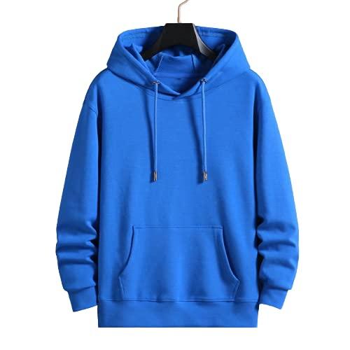 guiyuan suéter con Capucha y cordón de otoño / Invierno para Hombres y Mujeres, Jersey de Manga Larga, Suelto, Informal, Azul 5XL