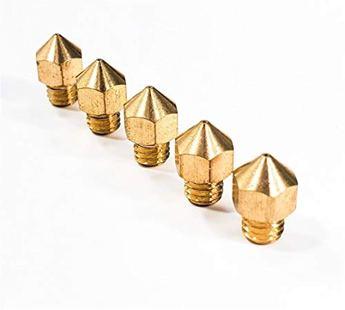 MAIO Tanne für M6 0,2 mm 0,3 mm 0,4 mm 0,5 mm 1 mm Kupfer 3D-Drucker Teile Extruder Gewinde 1,75 mm Filament Kopf M6 Messing Düsen Teilservice (Farbe: 5 Stück 0,3 mm)