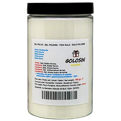Sal para palomitas de maíz, Molida en Polvo. El ingrediente secreto del auténtico Pop-Corn del cine. Aroma y sabor mantequilla. Contenido: 500 gr.