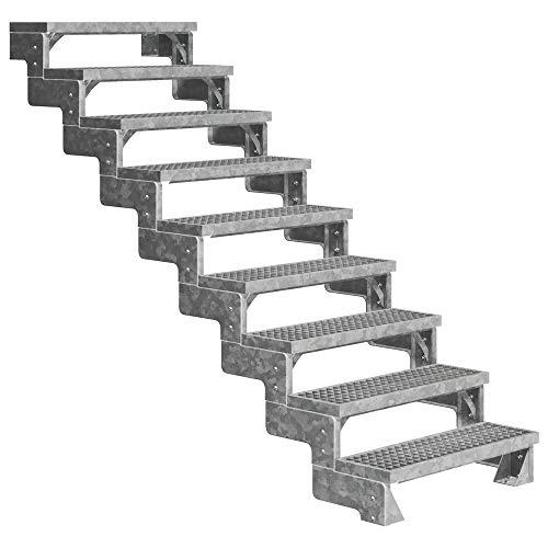 DOLLE Außentreppe Gardentop mit 9 Stufen   Geschosshöhe 162-198 cm │ Stufenauflage Gitterroststufen │ Stufenbreite: 80 cm   ohne Steiggeländer