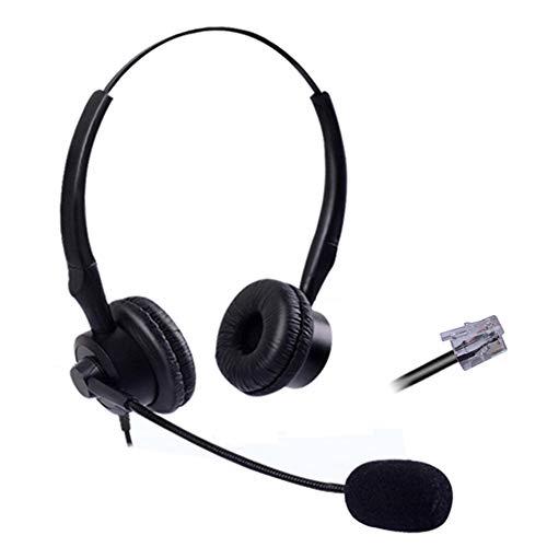 Auriculares Teléfono Fijo RJ9 Binaural con Micrófono Cancelación de Ruido, Cascos Manos Libres con Cable Compatible con Avaya 1608 9608 Yealink T21P T28P T42G T48G Cisco 7911 B201Y1