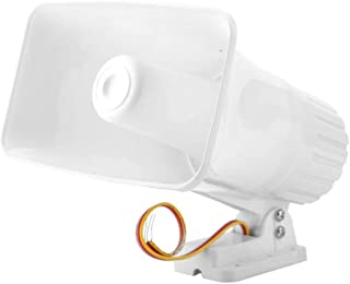 MAGT Alarm Siren, Electronic Alarm Siren Horn 150dB Indoor/Outdoor Security Siren DC 12V for Home Security System - White