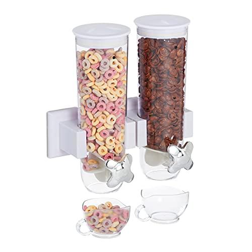 Relaxdays Dispensador Cereales Doble, Montaje Pared, Dosificador Frutos Secos, Botes Caramelos, Avena, Plástico, Blanco