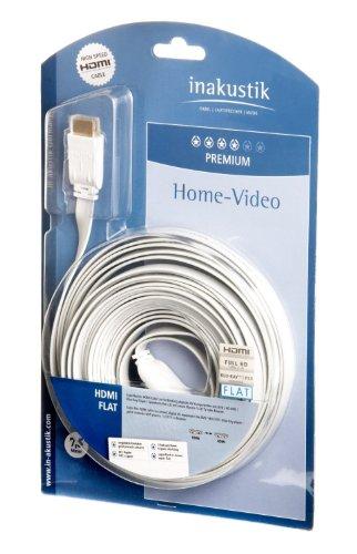 inakustik Premium II High Speed HDMI Kabel mit Ethernet Flat (HDMI - HDMI, 3m) weiß