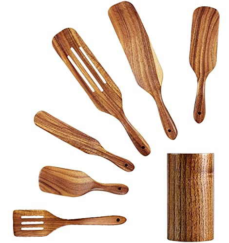 GURUDVDT Pack of 7 Wooden Spatula Set Including Holder - Made with 100% Natural Teak - Lightweight & Strong Spurtle Set for Stirring, Mixing & Serving - Durable Cooking Utensils for Non-Stick Cookware