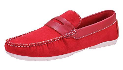 Evoga Mocassini uomo casual eleganti estivi scarpe espadrillas Barca (41, Rosso)