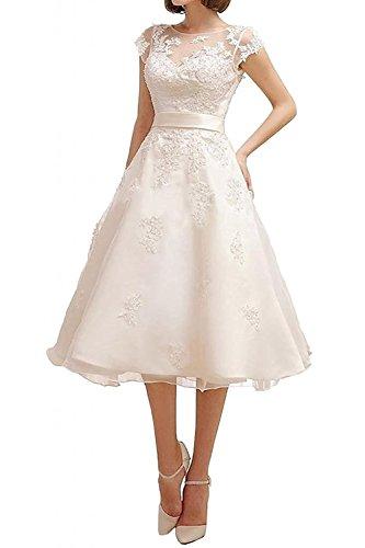 Dresses Onlie Tüll A-Linie Kurzarm Hochzeitskleider Wadenkurz mit Spitze Applikationen Brautkleid-Weiß-32