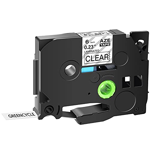 """GREENCYCLE Compatible for Brother TZe-111 TZe111 TZ111 TZ-111 AZE Tape 6mm 0.23 Inch 1/4"""" Black on Clear Laminated Label Tape for PTD210 D400AD D600 PT-H100 PTH110 PT1290 PT-1230PC, 1 Pack"""