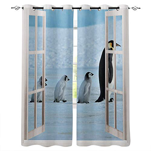 Verdunkelungsvorhang 3D Pinguintier Curtains for Living Room Bedroom Children's Room Kitchen Boy's Room Curtains Wall Background Decorations.