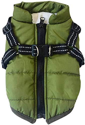PetyHope - Abrigo impermeable cortavientos para perro, cachorro, forro polar reflectante, talla grande, verde
