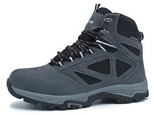 Botas de Montaña para Mujer, Zapatillas de Senderismo Impermeable Antideslizante Zapatos de Deporte Exterior Calzado de Alta Caña Trekking Sneakers (Marrón, Gris, Azul)