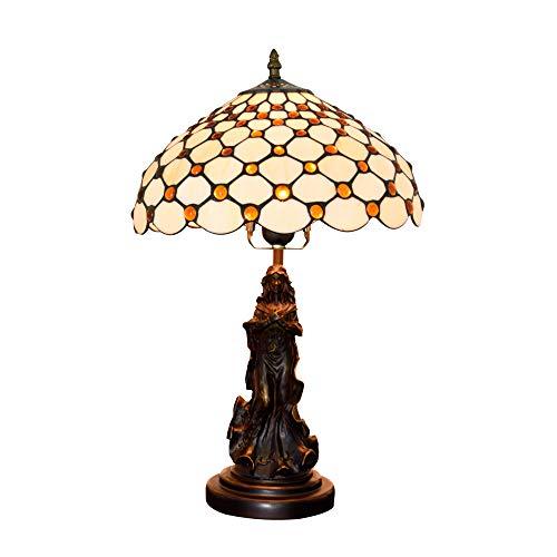 JAY Barock Rokoko Design Tischlampe 12 Zoll Tiffany handgefertigte Glasmalerei Lampenschirm...