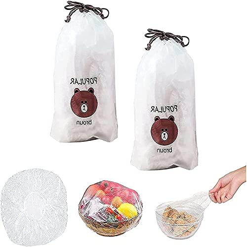 MHT Bolsas de Plástico Selladas para Alimentos, Bolsas para Guardar Las Comidas Frescas para Poner en Platos y Tazones, Bolsas para Guardar Las Sobras, Tapas de Sellado Universal