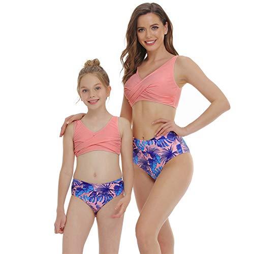 LEIKEGONG Bikini que muestra el pecho y la cadera envolvente, traje de baño sexy completo para padres e hijos, tejido elástico, aporta una experiencia suave y cómoda (color: rosa, talla: Children 164)