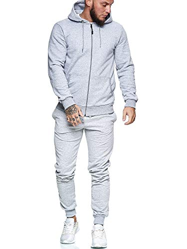 OneRedox | Herren Jogginganzug | Streetwear | Fitness | Sportanzug | Hoodie-Sporthose | Jogging-Anzug | Trainings-Anzug | Jogging-Hose | Modell JG-3000 Grau M