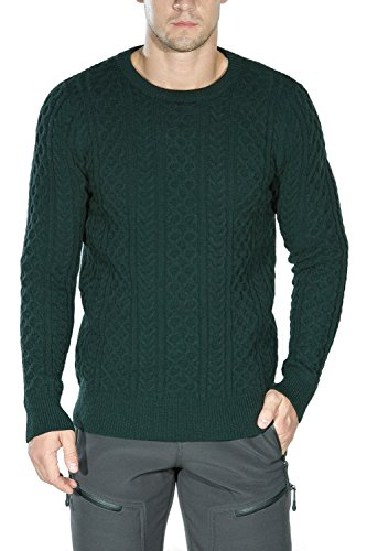 Rocorose Men's Cable Knit Sweater Long Sleeves Crewneck Green M