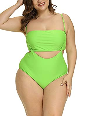 Allegrace Women Plus Size Swimsuits Two Piece Tube Top High Waist Bathing Suit Fluorescent Green 3X