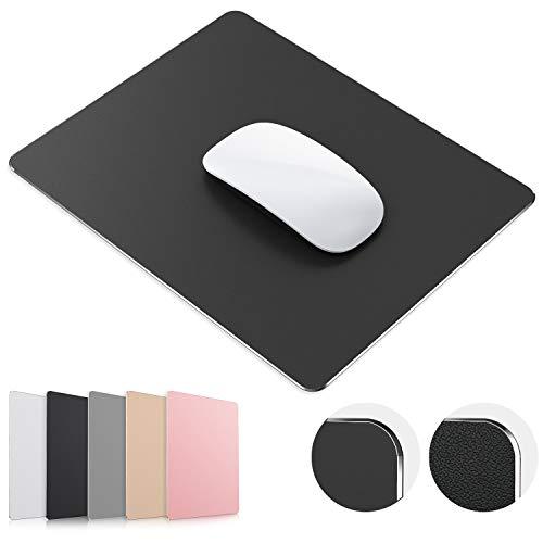 TOSFFICE Tapis de Souris Gamer Mouse Pad Gaming 24*20cm Tapis Souris Gaming en Aluminium Métal Rigide Mousepad Company Waterproof pour Ordinateur et Ordinateur Portable- Noir