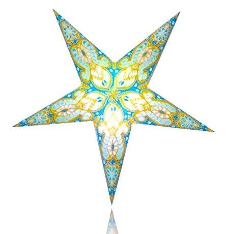 Happy Sales HSSL-FATQYB Frozen Aurora Paper Star Lantern Turquoise Yellow,
