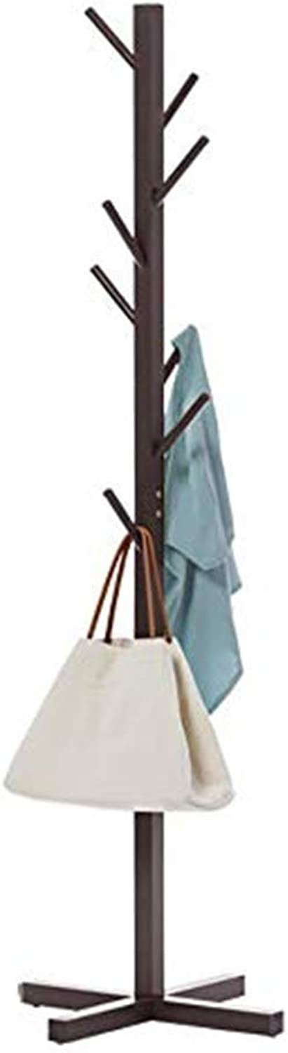 Coat Rack Floorstanding Simple Fashion Hanger Storage Bedroom Hangers 4 colors Available Wall Hanger Solid Wood Living Room Haiming (color   Brown)