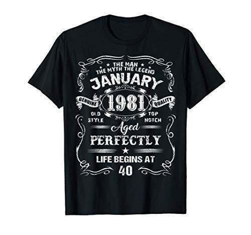 Hombre Legends Were Born In January 1981 Regalos 40 Cumpleaños Camiseta