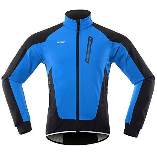 GITVIENAR Herren Fahrradjacke, Winddichte wasserdichte Radjacke mit Fleece, Warme Reflektierende Fahrradbekleidung für Winter, Thermo Langarm Jacke zum Radfahren Joggen Wandern (Blau, XL)