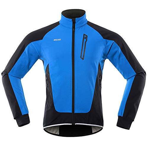 GITVIENAR Herren Fahrradjacke, Winddichte wasserdichte Radjacke mit Fleece, Warme Reflektierende Fahrradbekleidung für Winter, Thermo Langarm Jacke zum Radfahren Joggen Wandern (Blau, L)