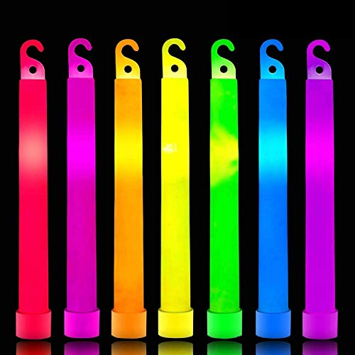 36 Pack 6 Inch Glow Sticks Emergency Light Party Supplies,7 Color Ultra Bright Neon Sticks Glow in The Dark,Waterproof Glow Sticks Accessories for Survival,Camping,Parties,Mardi Gras Decorations
