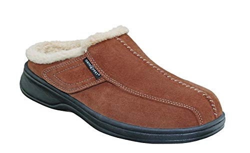 Orthofeet Proven Plantar Fasciitis Pain Relief Arch Support Orthopedic Men's Leather Slippers Asheville Brown