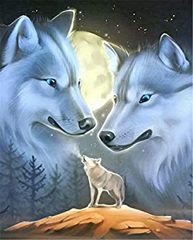 Diamond Painting Kits for Adults DIY 5D Lone Wolf Miss Parents Full Round Drill Crystal Diamond Painting Wolf Rhinestone Embroidery Pictures Arts Craft for Home Wall 11.8×15.7Inch