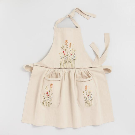 Natural Embroidered Floral Apron with Lace Trim | World Market