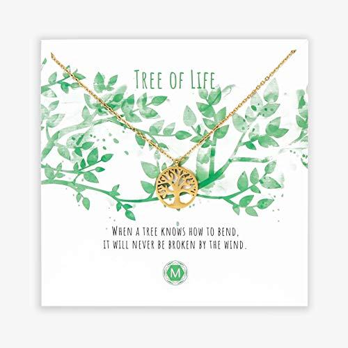 MURANDUM Geschenk Kette Tree of Life | Tree Pendant Necklace | Damenhalskette mit Baum Anhänger inklusive Geschenkkarte | verstellbar (Gold)