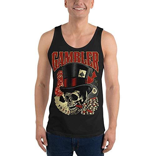 Rockabilly Gambler Skull, Camiseta de Tirantes Unisex, XS - 2XL, 10 Colores Diferentes Schwarz M