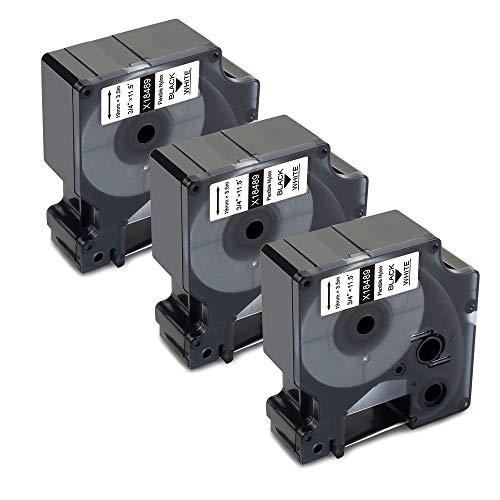 Xemax Kompatible DYMO Rhino-Industrieetiketten Ersatz für Dymo 18489 Rhino Industrie Flexible Nylon Etiketten 19mm x 3,5m schwarz auf weiß, für Dymo Rhino 4200 Rhino 5200 Rhino 6000 Etikettendrucker