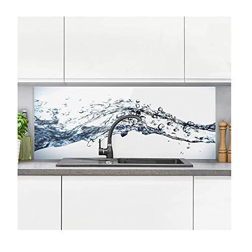 Spritzschutz Küche - Water Splash I inkl. Magnethalterung I hitzebeständig für alle Herdarten geeignet I Küchenrückwand Glas, Spritzschutz Herd, Glasplatte Küche I HxB: 50x125 cm