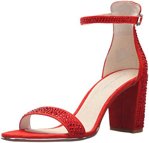 Kenneth Cole New York Women's Lex Shine Glitzy Block Heeled Sandal Ankle Strap, Persimmon, 8.5 M US (Persimmon Block)