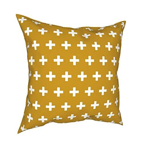 Uliykon Fundas de cojín decorativas blancas con diseño de cruz en amarillo mostaza, fundas de almohada cuadradas suaves para sofá, dormitorio, coche, con cremallera invisible, 45,7 x 45,7 cm