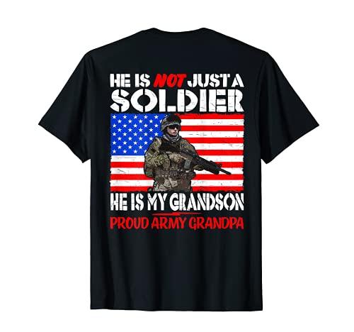 Hombre Mi nieto es un soldado Orgulloso Ejército Abuelo Familia Militar Camiseta