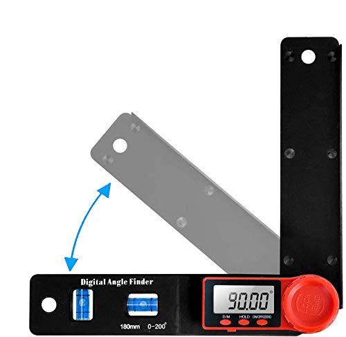 Winkelmesser Klein, Orthland Digitale Wasserwaage Mini mit 2 Libellen und LCD-Anzeige Feststellfunktion Automatische Abschaltfunktion Länge: 180mm 200°, Winkel Messen für Handwerker und Heimwerker